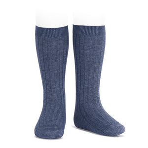 Condor Ribbed Knee High Socks - Jeans