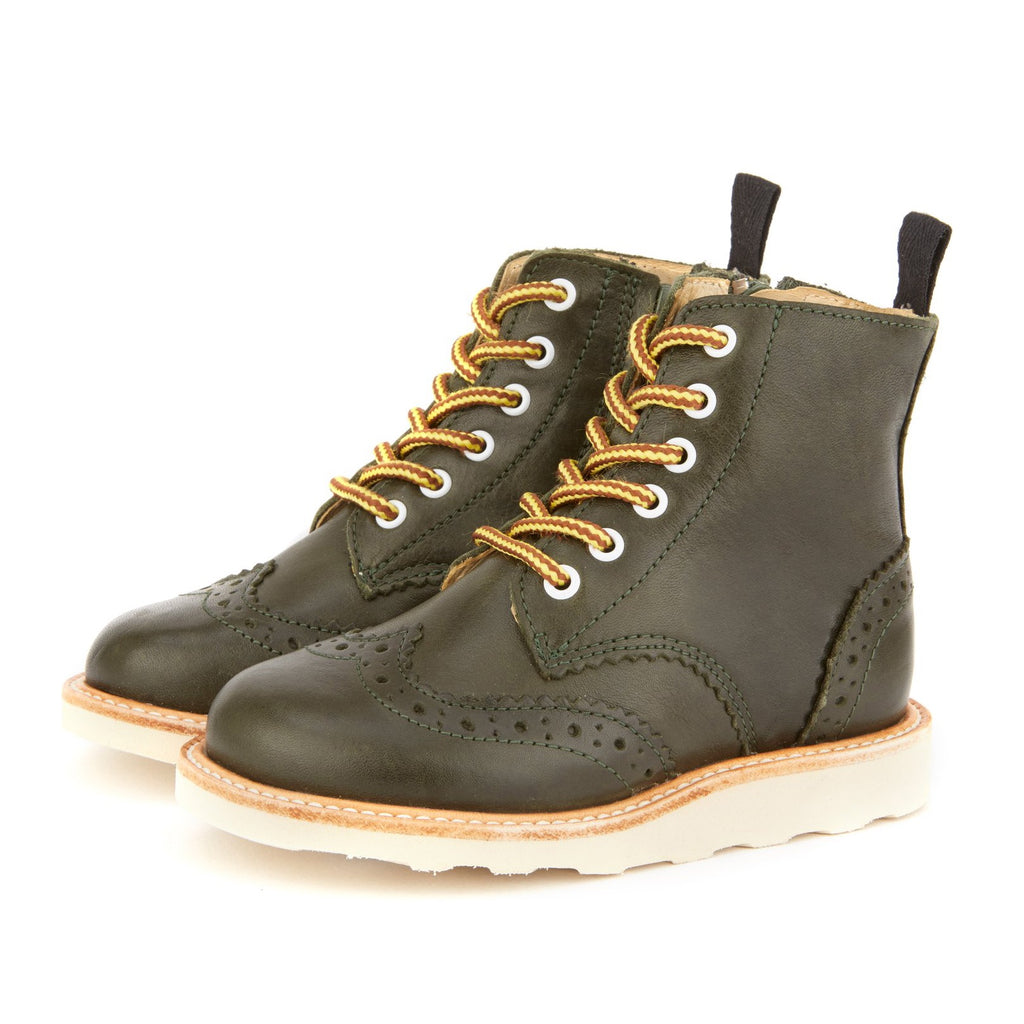 Young Soles Sidney Brogue Boot Hunter Green Leather