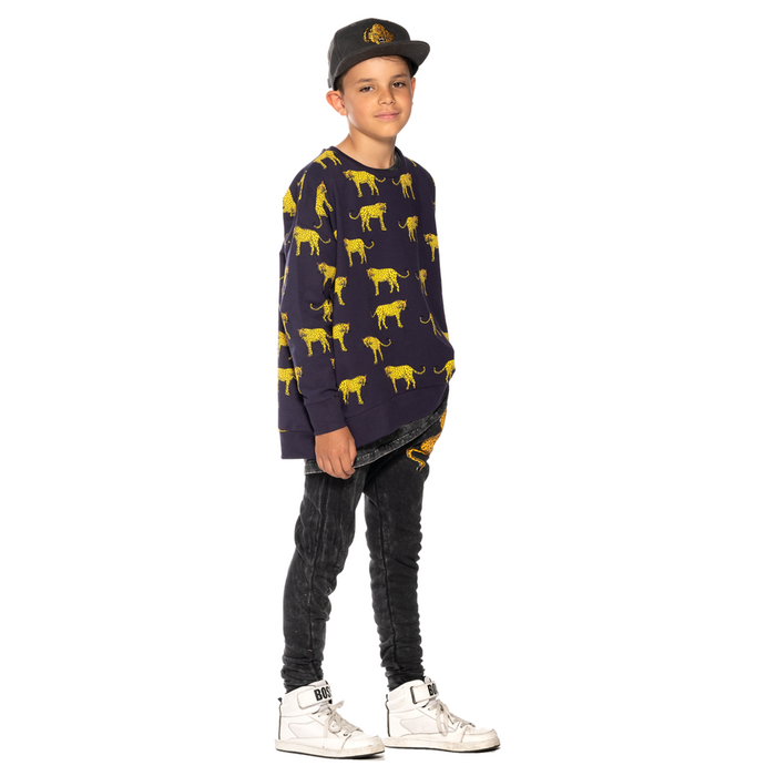 Band Of Boys Yellow Cheetah Oversize Crew