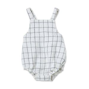 Walnut Barkley Romper Linen Check