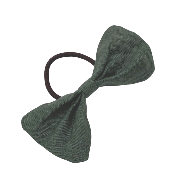 Daisy Kids Label Big Bow Hair Elastic - Olive Linen