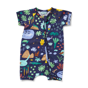 Halcyon Nights Beach Forest Short Sleeve Zip Suit