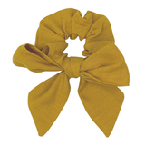 Daisy Kids Label Bow Scrunchie - Mustard Linen