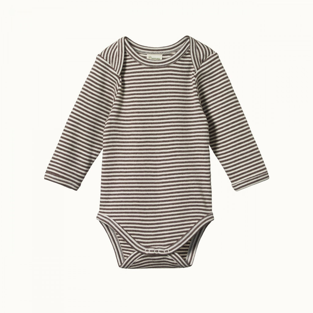 Nature Baby Cotton LS Bodysuit - Truffle Marl Stripe
