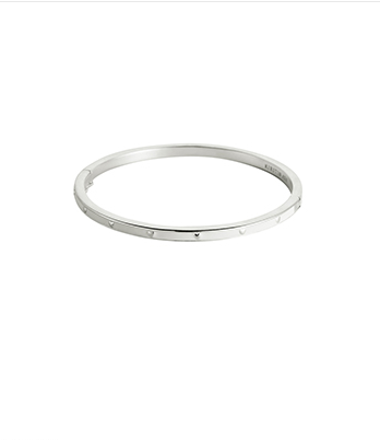 Little Kirstin Ash White Heart Enamel Bangle