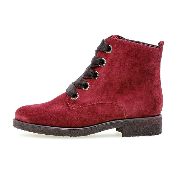 GABOR Dark red dream velour snørestøvle,