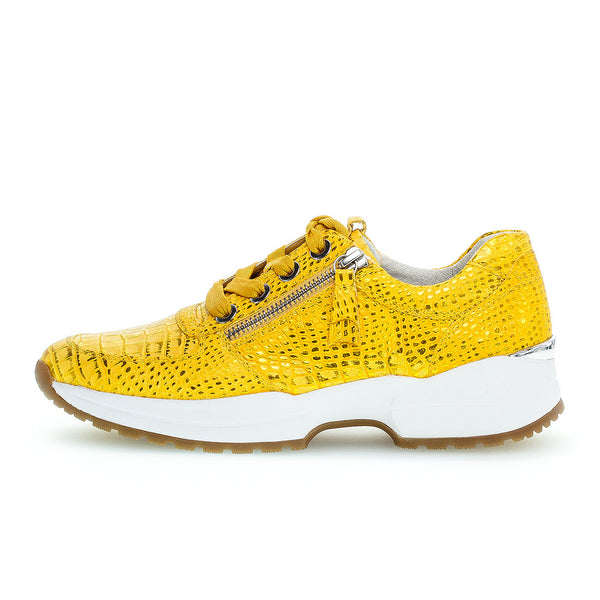 GABOR Yellow kroko metallic sneakers,