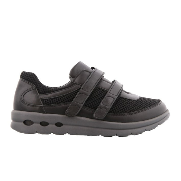 NEW FEET sko m/ velcro i sort skind med tekstil,