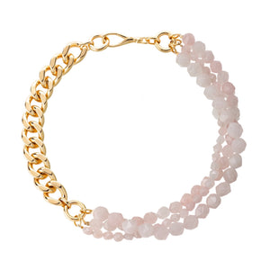 Necklace with rose quartz in gold-plated brass