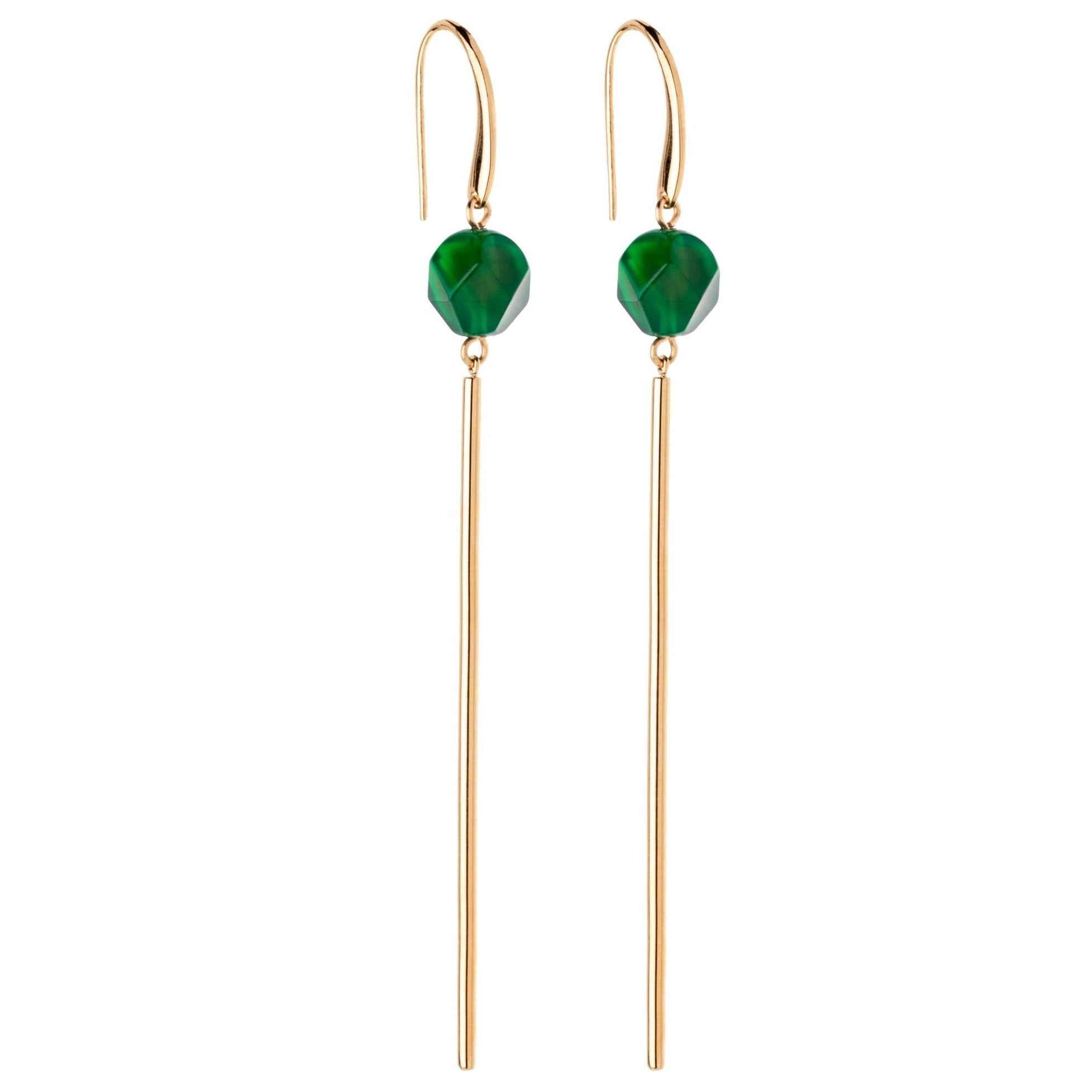 Earrings with green agate