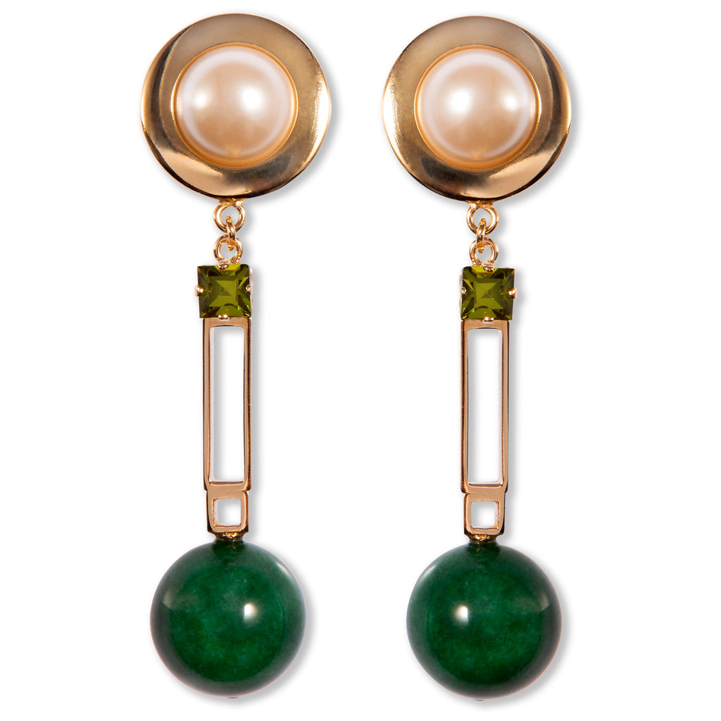 Clip earrings with green agate, faux pearls and crystals