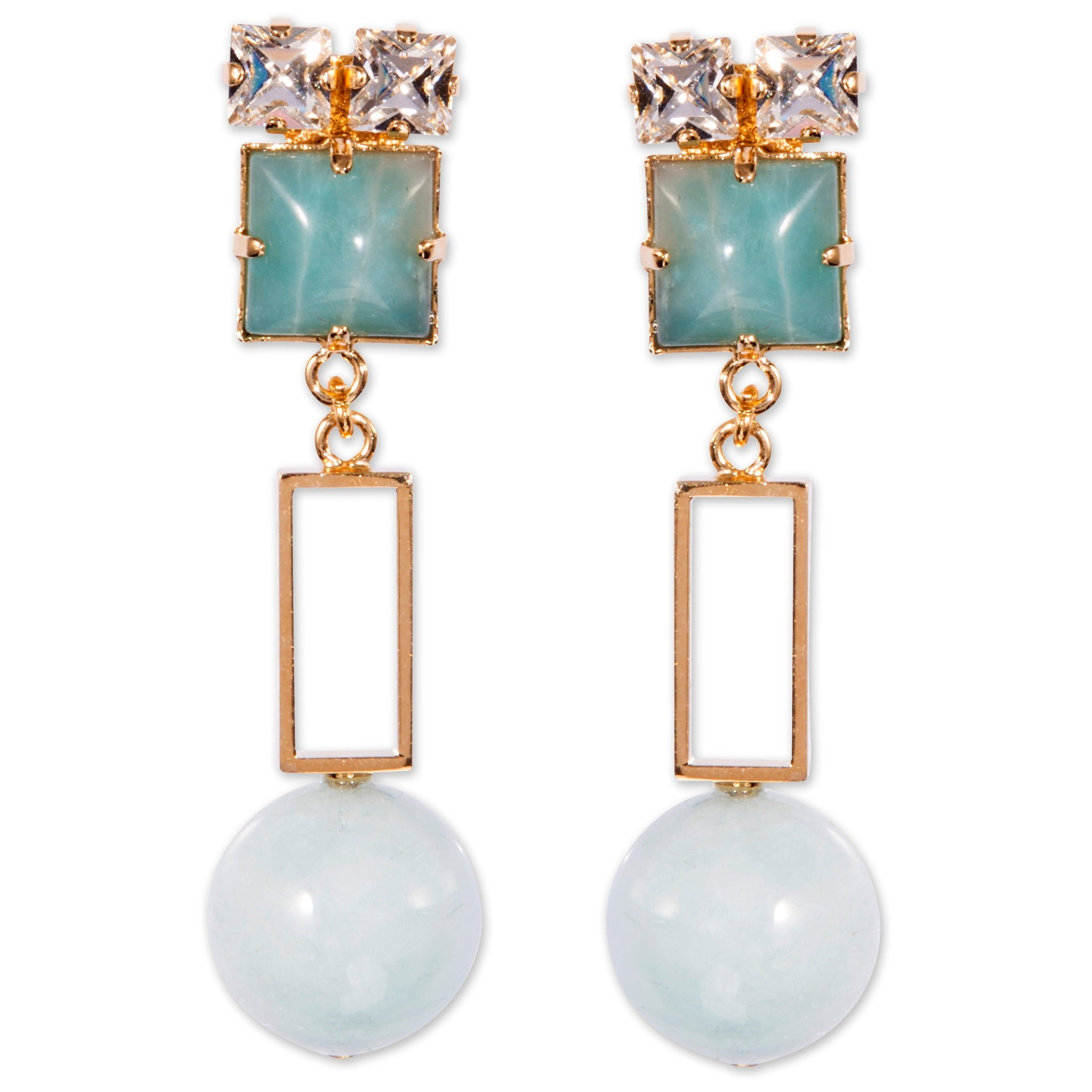 Earrings with amazonite, aquamarine and crystals for pierced ears