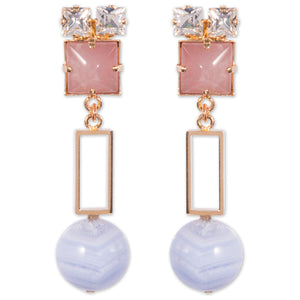 Earrings with rose quartz, chalcedony and crystals for pierced ears