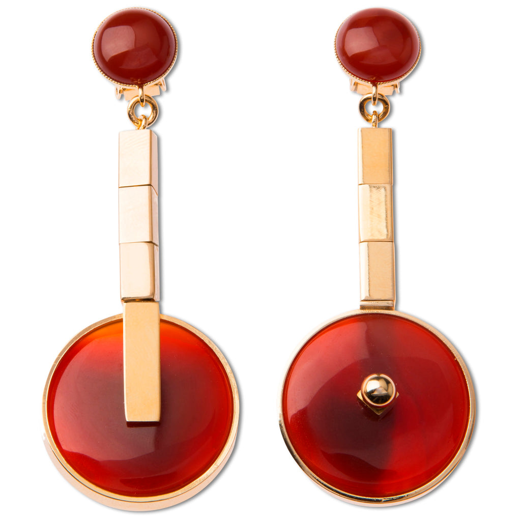 Clip earrings with red agate