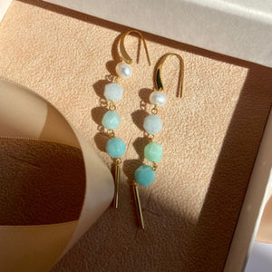 Earrings with natural pearls, aquamarine, jade and amazonite