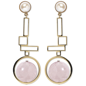 Clip earrings with rose quartz and faux pearls in gold-tone brass