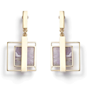 Earrings with amethyst for pierced ears
