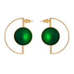 Earrings with green agate for pierced ears