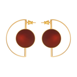 Earrings with red agate for pierced ears