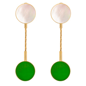 Clip earrings with mother of pearl and Malasian jade