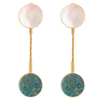 Clip earrings with mother of pearl and amazonite