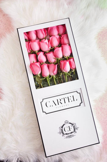 LONG STEM PINK ROSES White Box