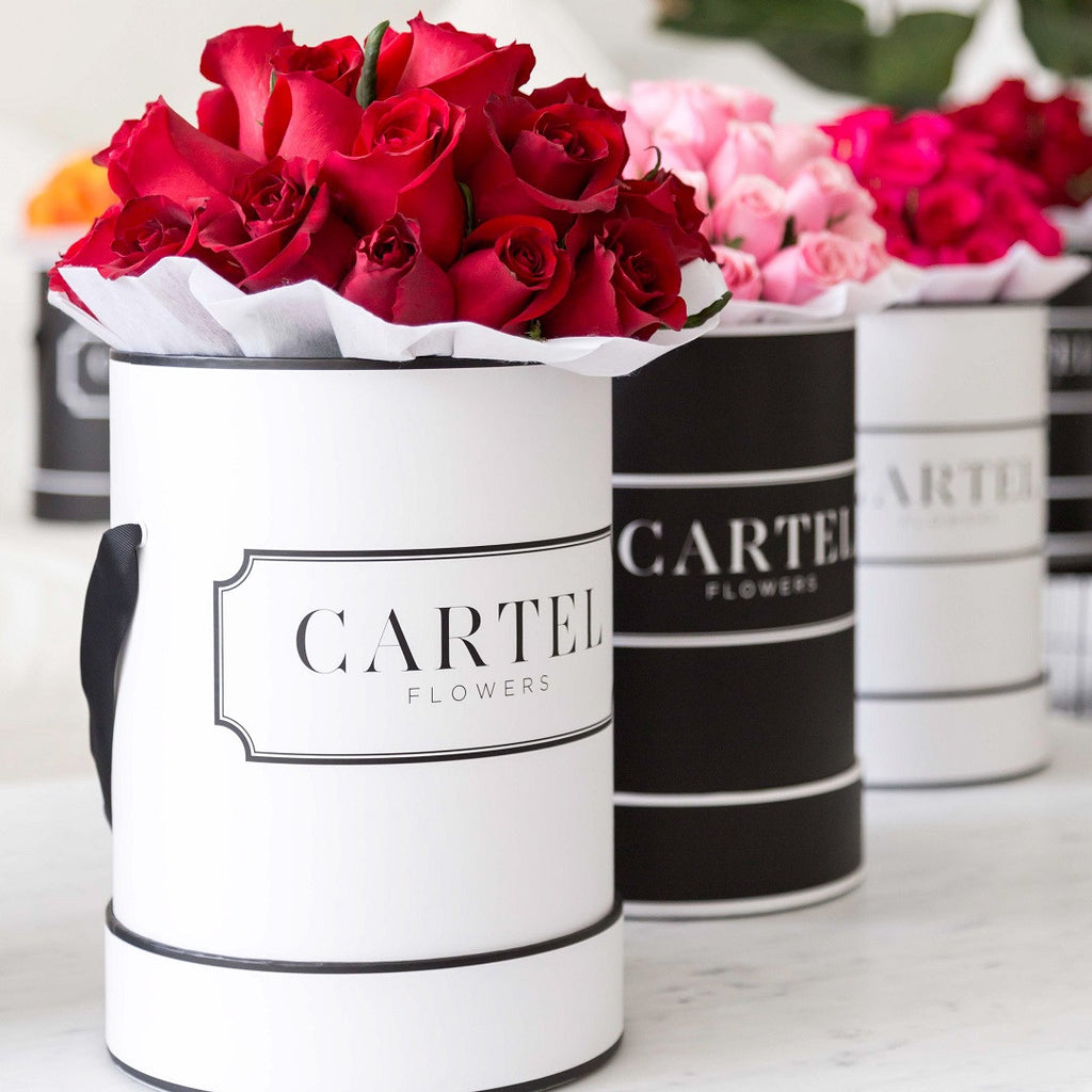 Cartel flowers personalised roses roses in a box boxed roses luxe red blooms white box izmirmasajfo