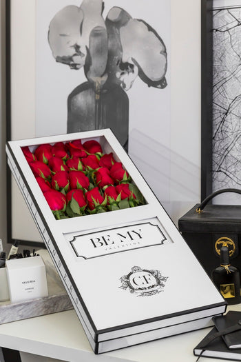 LONG STEM RED ROSES White Box