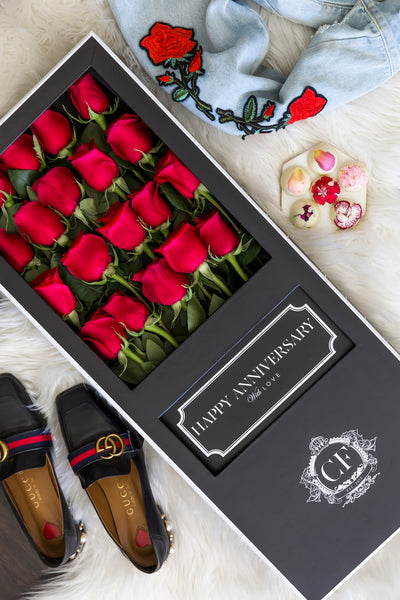 LONG STEM RED ROSES Black Box
