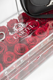 Large Acrylic Box with mirror base. Choose your rose colour. (Available Worldwide)