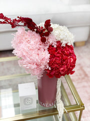 "Limited! ""Raspberry Lollies"" Blooms in Personalised Vase"