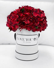 Limited! Scented silk red hydrangeas (Choose your box colour)