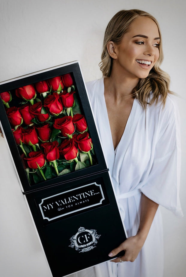 LONG STEM RED FRESH ROSES Black Box (VIC, Australia Only)