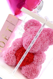 Rose Teddy Bear - Pink Holding Red Heart (FREE GIFT BOX)