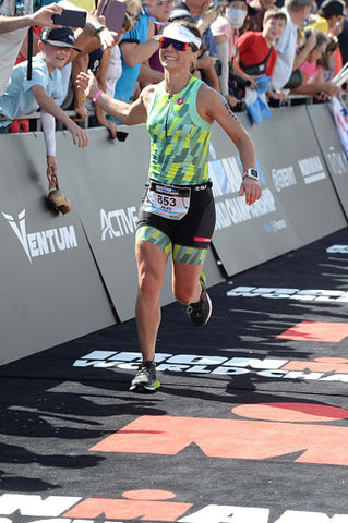 Jules Widdowson running at IM 70.3 World Champs