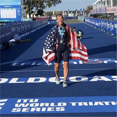 Sue Reynolds at World Triathlon Championship finish line