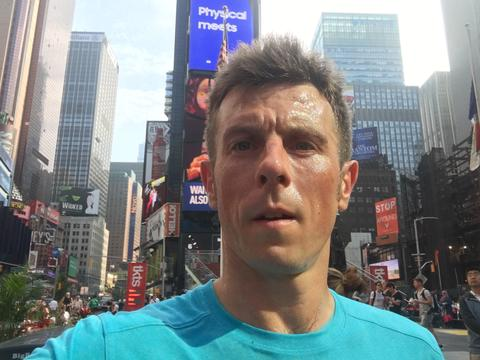 Andy Blow fitting in a morning run on the streets of New York before work