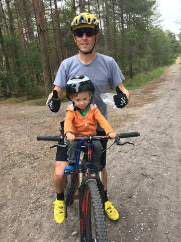Andy Blow out riding with his son