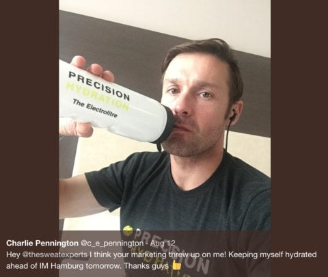 Charlie Pennington drinking some Precision Hydration after being ill