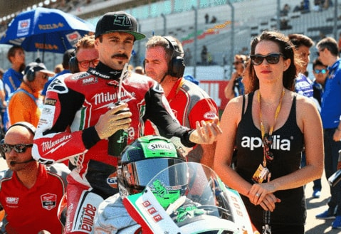 Eugene Laverty drinking Precision Hydration on the grid