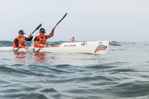 Jonny Tye and Andy blow racing the Icon Classic Surfski race
