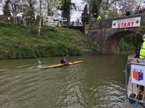 Lena Kraus at the start of the Devizes to Westminster Canoe Race