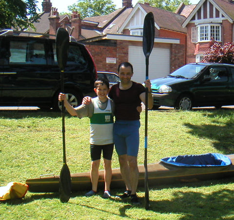Jonny Tye and his dad with paddles