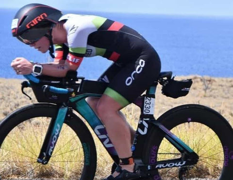 Ruth on the bike in Kona