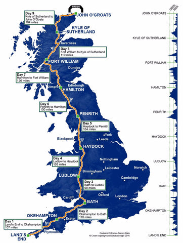 Land's End to John O Groats Cycling route