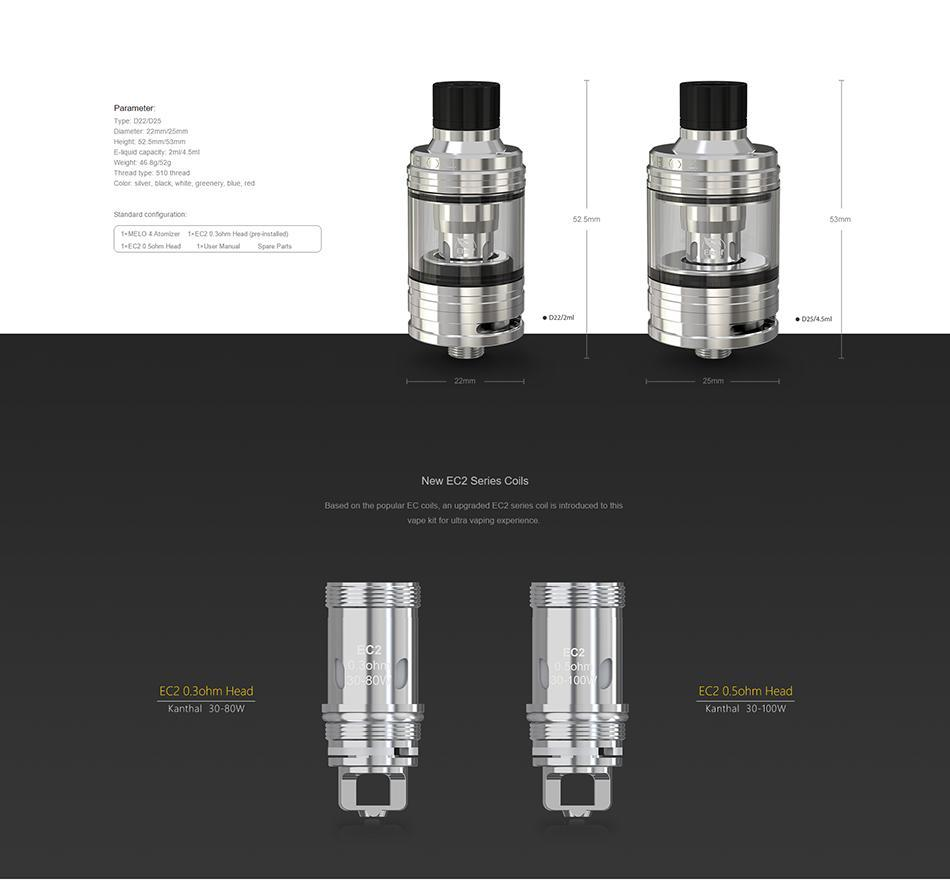 Eleaf Tank Black / D25 Eleaf - Melo 4 Tank (FREE SHIPPING)