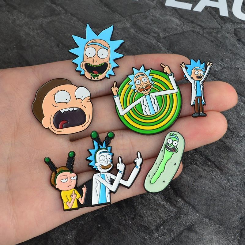 Curated by VV - Rick and Morty Enamel Badge Buttons (FREE SHIPPING)