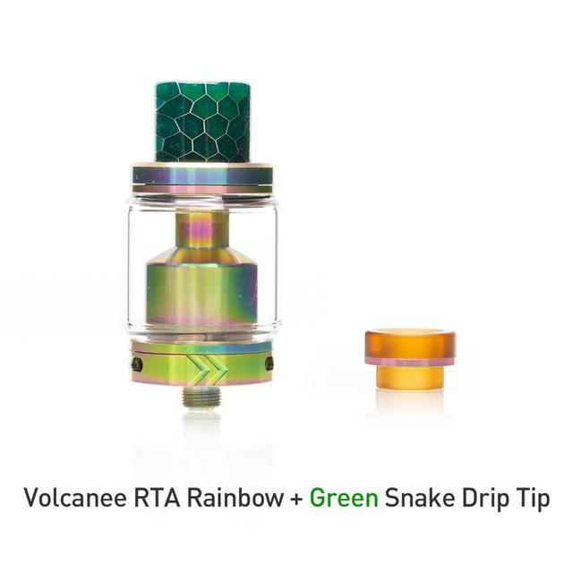 Volcanee Tank with green drip tip Volcanee - RTA Dual Coil Tank Atomizer (FREE SHIPPING)