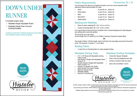 Down under Runner Piecing and Quilting pattern using Westelee Design Adjustable rulers and Quilting with Domestic Sewing Machine foot and Templates