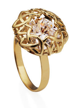 Hekla Gold Ring With White Cubic Zirconia Stone